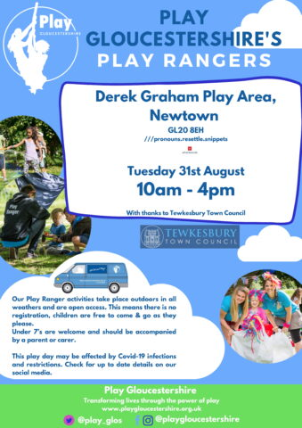 Play Ranger date at Derek Graham Play Area - Tuesday 31st August 10am - 4pm.