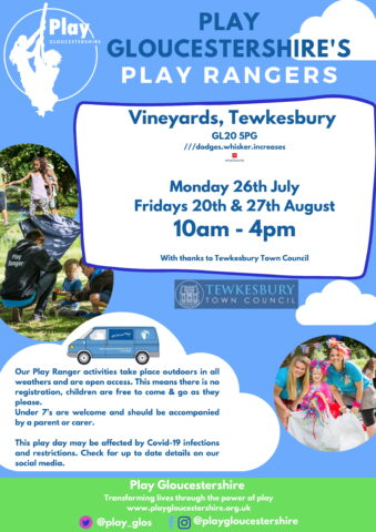 Play Ranger dates on the Vineyards - Mon 26th July, Friday 20th & 27th August.  10-4pm